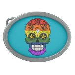 Customizable Gay Pride Rainbow Sugar Skull Oval Belt Buckle