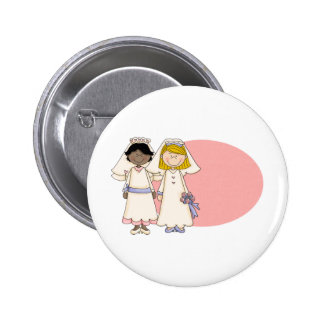 Customizable Gay Women Wedding  (2) Button