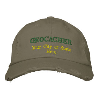 Customizable Geocacher's City or State Embroidered Baseball Hat