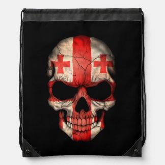 Customizable Georgian Flag Skull Drawstring Bag
