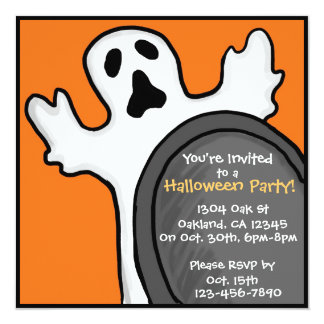 Customizable ghostly grave orange invitations