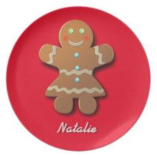 Customizable Gingerbread Cookie Cartoon Plate