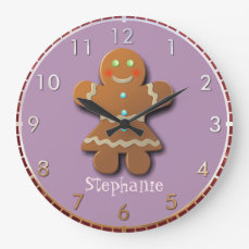 Customizable Gingerbread Cookie Large Clock
