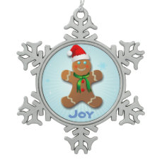 Customizable Gingerbread Cookie Snowflake Pewter Christmas Ornament