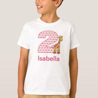 Customizable Giraffe girl second birthday shirt 2