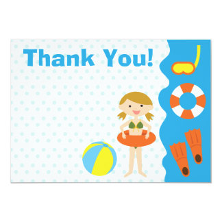 Customizable Girl Birthday Pool Party Thank You Card
