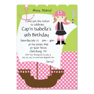 Customizable Girl Pirate Ship Birthday Party Card