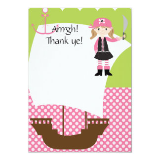 Customizable Girl Pirate Ship Thank You 5x7 Paper Invitation Card