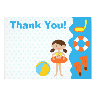 Customizable Girl's Birthday Pool Party Thank You Card