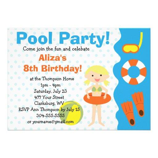 Customizable Girl's Pool Party Birthday Custom Invitations