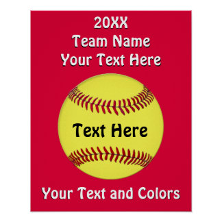 Customizable Girls Softball Team Posters