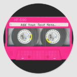 Customizable Girly Pink Cassette Tape Classic Round Sticker