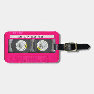 Customizable Girly Pink Cassette Tape Luggage Tag
