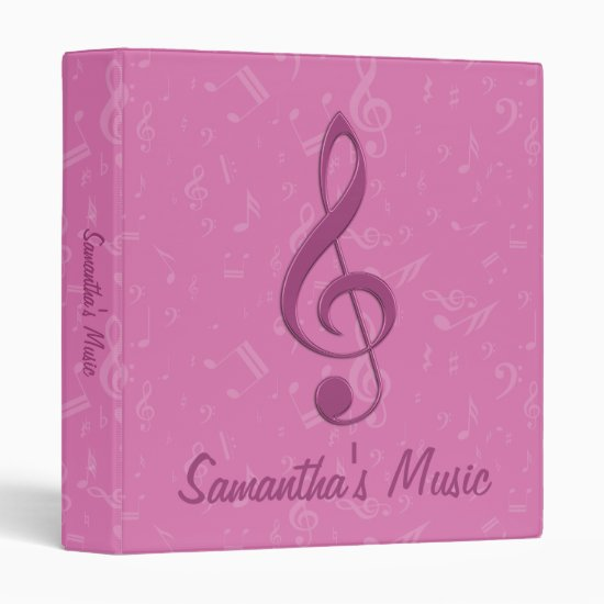 Customizable Girly Pink Clef and Musical Notes 3 Ring Binder