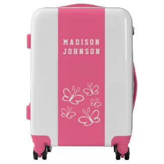 Customizable Girly Pink Violet White Butterflies Luggage