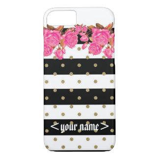 Customizable Glitter n flowers iPhone 7 case