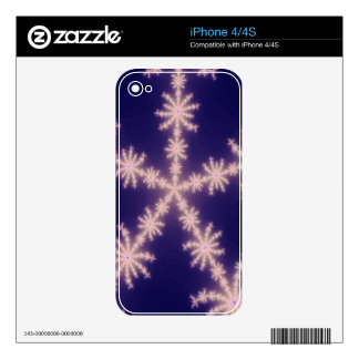 Customizable Glowing Snowflake iPhone Fractal Skin Skins For The iPhone 4S