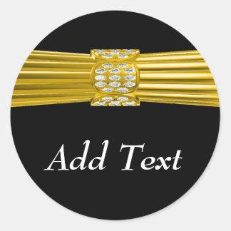 Customizable Gold band Classic Round Sticker