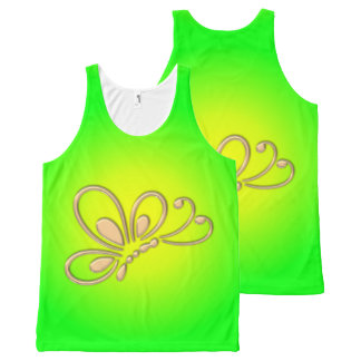 Customizable Gold Butterfly Profile Green Sunset All-Over-Print Tank Top