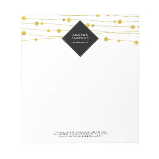 Customizable Gold Confetti Strands Notepad