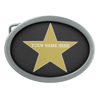 Customizable Gold Star Belt Buckle