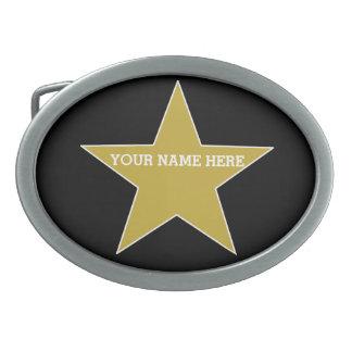 Customizable Gold Star Oval Belt Buckle