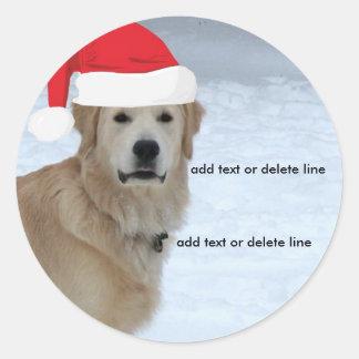 Customizable Golden Retriever Santa Hat Sticker