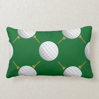 Customizable Golf Ball and Tees on Green Lumbar Pillow