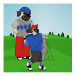 Customizable Golfing Pug Poster - Choose your Size