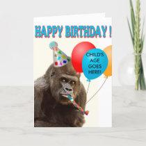 Customizable Gorilla Birthday Card