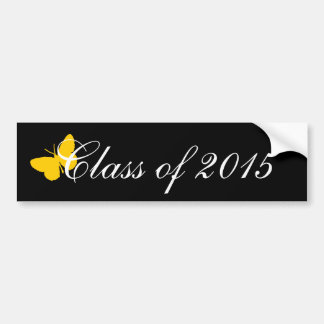 Customizable Graduation - Black and Gold Butterfly Bumper Stickers
