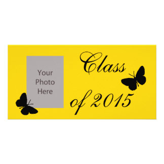 Customizable Graduation - Black and Gold Butterfly Card