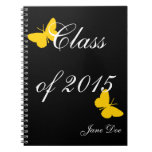 Customizable Graduation - Black and Gold Butterfly Spiral Note Books