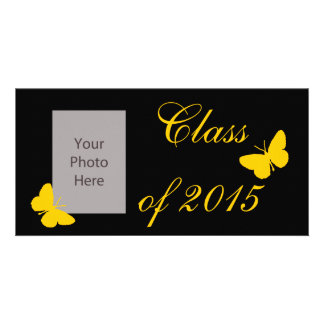 Customizable Graduation - Black and Gold Butterfly Photo Card