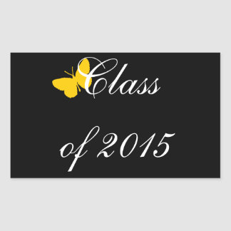 Customizable Graduation - Black and Gold Butterfly Rectangle Stickers