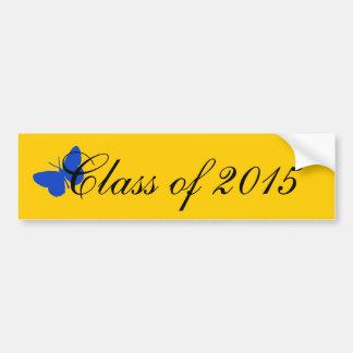 Customizable Graduation - Blue and Gold Butterfly Bumper Sticker