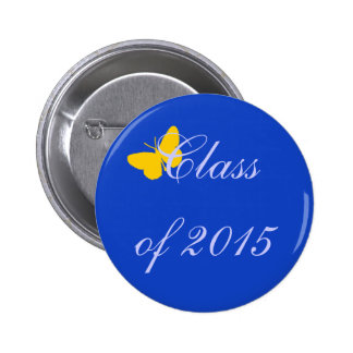 Customizable Graduation - Blue and Gold Butterfly Pinback Button