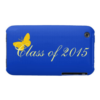 Customizable Graduation - Blue and Gold Butterfly iPhone3 Case