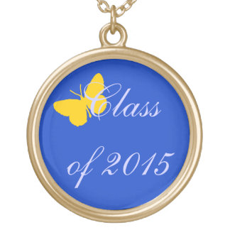 Customizable Graduation - Blue and Gold Butterfly Pendant