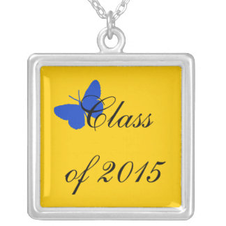 Customizable Graduation - Blue and Gold Butterfly Personalized Necklace
