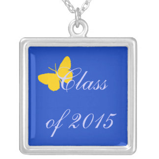 Customizable Graduation - Blue and Gold Butterfly Pendants