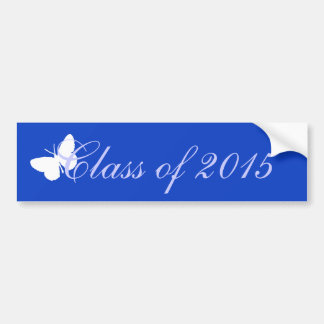 Customizable Graduation - Blue and White Butterfly Bumper Stickers