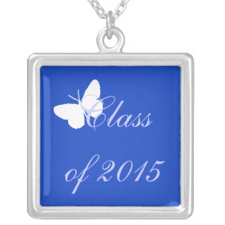 Customizable Graduation - Blue and White Butterfly Pendants