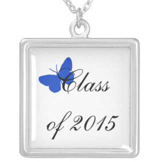 Customizable Graduation - Blue and White Butterfly Necklace