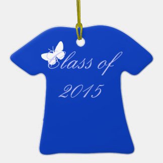 Customizable Graduation - Blue and White Butterfly Ornament
