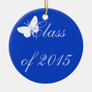 Customizable Graduation - Blue and White Butterfly Christmas Tree Ornaments