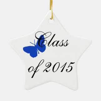 Customizable Graduation - Blue and White Butterfly Christmas Tree Ornament