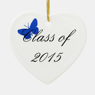 Customizable Graduation - Blue and White Butterfly Christmas Ornament
