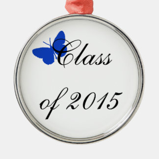 Customizable Graduation - Blue and White Butterfly Christmas Ornaments
