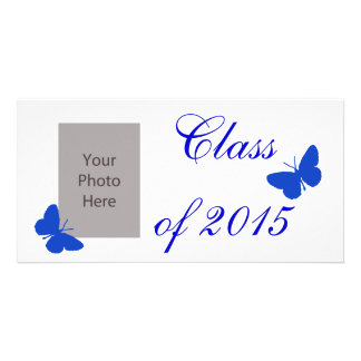 Customizable Graduation - Blue and White Butterfly Photo Card